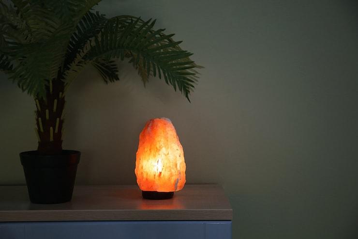 Use a himalayan salt lamp to help filter air at home