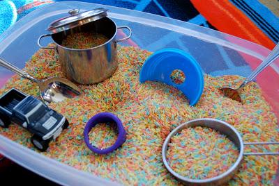 play ideas for kids - rainbow rice